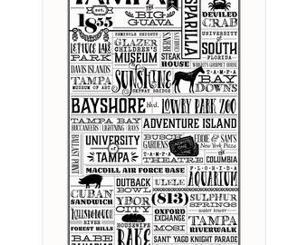 Tampa, Florida Letterpress City Wall Art Print Poster Gift