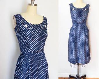 Vintage 1950's Silk V Print Dress