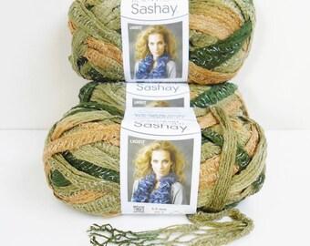 SASHAY Boutique Bulky Ruffle Scarf YARN THREE Balls Skeins New Red Heart Conga Brown Green Metallic Knit Crochet Supplies