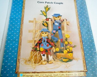 Scarecrow Doll Pattern Kit Corn Patch Couple Ozark Crafts, Vintage Sewing Pattern for Country Scare Crow Dolls Clothes Corn Stalk
