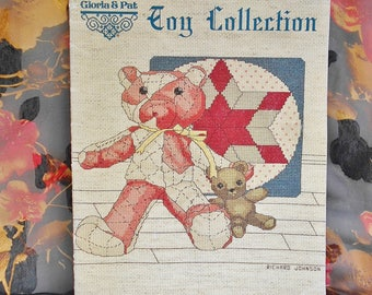 Cross Stitch Pattern Book My Antique Toy Collection Bear Duck Doll Pig Cow Wagon Vintage 1985 1st Printing, Counted Cross Stitch Pattern