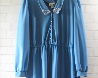 Country Blue Dress, Large, XLarge, XXLarge, 10, 12, 14, 16