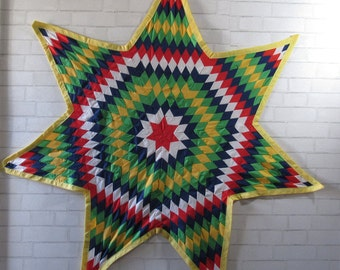 MILESTONE SALE 40% OFF with Coupon, Vintage Hand Stitched Star Wall Hanging