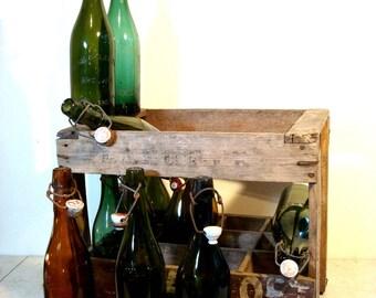 Vintage Green Beer Bottles from Belgium with original Porcelain Stopper, European Vintage Beer, Vintage Bar Collection. European Beer Bottle