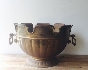 Vintage large Brass Bowl, Brass Planter, Champagne Bucket, Art Nouveau Bucket