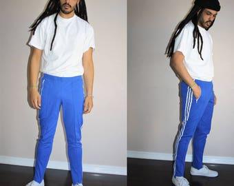 Rare Vintage 80s Adidas Trefoil Blue Three Stripe Running Athletics Pants - 1980s Adidas Pants - 80s Clothing - MV0345