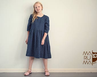 Girls Clothing Girls Linen dress Dark blue with white dots linen dress Flower girls dress Linen girls outfit School girls dress Boho dress