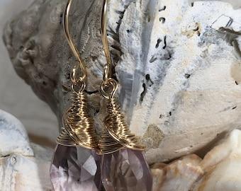Pink Mystic Quartz and 14 Karat Gold Filled Earrings-Whisper