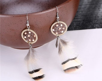Boho feather dreamcatcher earrings - surgical steel earrings, stainless steel, nickel free, hypoallergenic