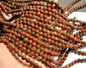 Brecciated Jasper - 8 mm round beads - 1 full strand - 48 beads - Poppy jasper - RFG197