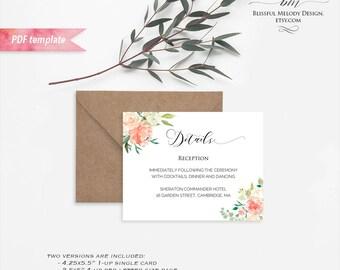 Printable Peach Cream Floral Information Card, Editable PDF Template, Rustic Boho Wedding Details Card, vistaprint, DIY Instant Download #02