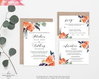 orange and purple wedding invitations etsy. Black Bedroom Furniture Sets. Home Design Ideas