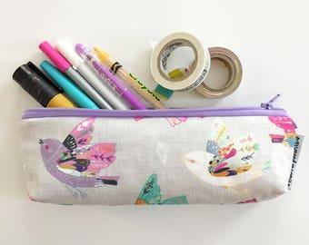 pencil pouch -- linen sparrows