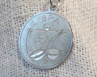 Libra Zodiac Sign Scales Etched Sterling Silver Charm