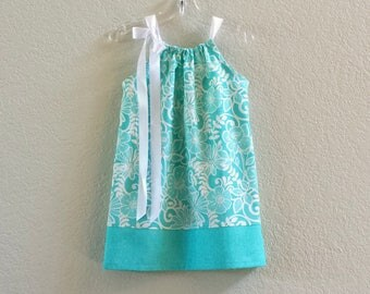 New! Little Girls Turquoise Pillowcase Dress - Aqua and White on Turquoise - Girls Sun Dress - Size 12m, 18m, 2T, 3T, 4T, 5, 6, 8, and 10