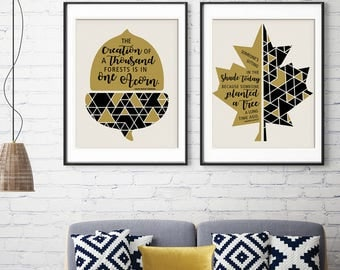 Seasons for Change (Inspired Nature Series) - Inspirational Quotes - Set of 2 Art Prints (Featured in Golden and Black) Nature Art Prints