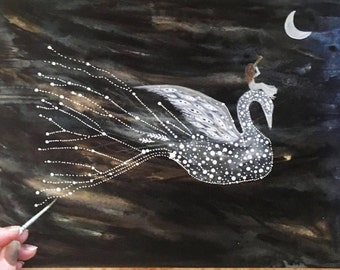 Original Painting // Olivia and the Star Swan // Elise Mahan