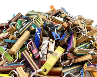 skateboard keychain, broken skateboard, wood keychain, recycled keychain, wood key, key ring, keychain, skateboarding keychain, sk8, recycle