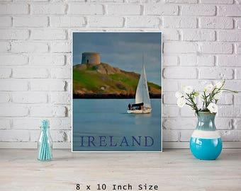 8x10 Art Print Poster IRELAND Sea Art Nautical Home Decor Ocean Wall Art Print With Sailboats Blue Art Prints