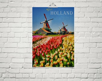 Dutch Art 18x24 Poster Fine Art Print Old World Decor Holland Tulips Windmill Art Living Room Decor Colorful Flower Art Europe Print
