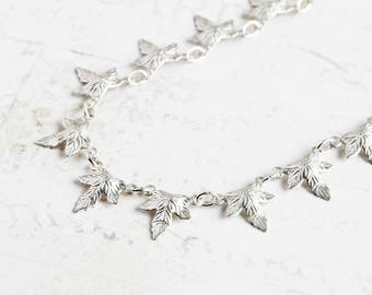 Delicate Matte Silver Linked Leaf Necklace on Silver Plated Chain