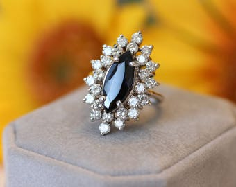 Magnificent Blue Sapphire Marquise double halo ring, ultimate engagement, diamond ring