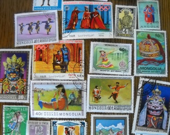 20 Used Vintage COSTUMES Masks Postage Stamps for crafting collage altered art journals scrapbooks philately commemorative stamps 10d
