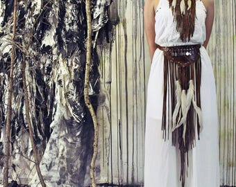 Ancient Ceremonial Leather Fringe Bridal Gown / Two Piece Leather Fringe Wedding Dress