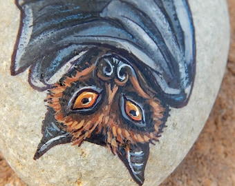 FRUIT BATS Totem Hand Painted Stones BAT Rocks Art Nocturnal Creatures Animals Spirit Guide Artwork Stone Art  Nature Paintings Wildlife Art