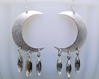 Moon Drips // Large Antiqued Silver Crescent Moon Earrings w/ Vintage Crystal Navette Gems, Statement Bohemian Bohochic Moonchild Witch Deco