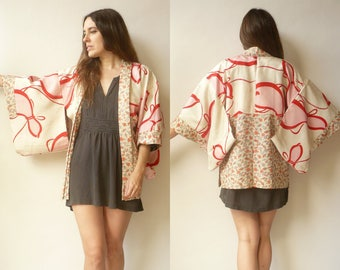 Vintage Reversible Novelty Fish Pattern Japanese Kimono Duster Jacket Haori