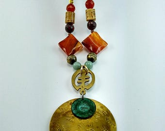 Brass Hammered Oriental Pendant Necklace - 105A