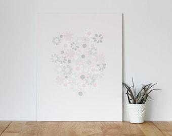 "pink wall art acrylic painting, ""flower bunch"" - are you my bestie, flat 11x13 canvas, girlfriend, best friend, portrait, gift, wall art"
