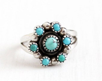Sale - Vintage Sterling Silver Turquoise Cabochon Cluster Ring - Size 5 1/4 Retro 1970s Southwestern Native American Teal Green Gem Jewelry