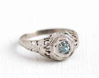 Sale - Vintage Zircon Ring - Art Deco 18k White Gold Filigree Light Blue Gem - Size 4 1/4 1930s Blue Round Gemstone Fine Filigree Jewelry
