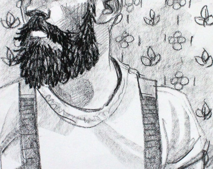 Bearded Hipster in Suspenders, 9x12 inches crayon on heavy rag paper by KennEy Mencher