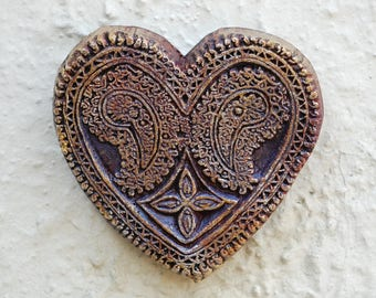 Rustic Heart Gift for Her Garden Stone Art Sculpture, Paisley Heart, Rustic Wall Decor, Hand Carved Heart Art