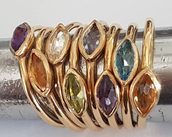 Smokey Quartz Gold Ring, Engagement Ring, Marquise Gemstone, Anniversary Ring, Solitare Ring, Promise Ring, Handmade Ring, Venexia Jewelry