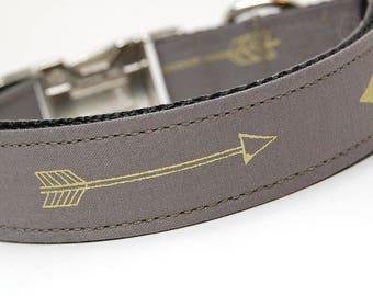 Handmade Dog Collar - Arrows Abound in Gray - Dark Silver and Gold Dog Collar Custom Made - With Golden Arrows - Modern Dog Collar
