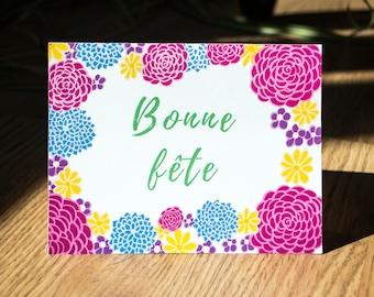 Bonne fête carte de souhaits, carte de voeux, fleurs, carte féminine, bouquet de fleurs, illustration nature, roses, carte florale