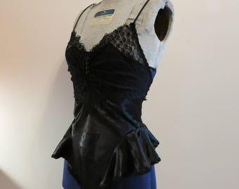 Teddy black satin lace 1980s vintage fantasy lingerie sheer S