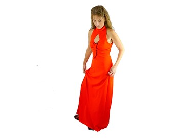 Vintage 70s Peek-a-Boo Maxi Dress, Racer Back Keyhole Front, Fiery Red Orange, Size Small