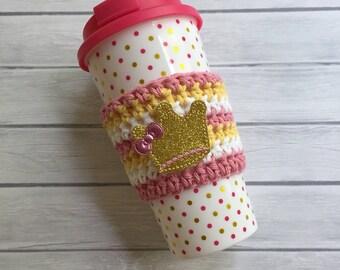 Princess cup cozy, pink cozy, coffee cup cozy, coffee cozy, crochet cup cozy, coffee cup sleeve, crochet cozie, planner supplies, cup cozy