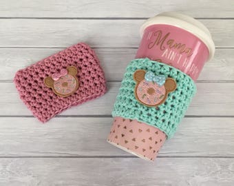 Cup cozy, donut cup cozy, donut lover, mouse donut, coffee cup cozy, crochet cup cozy, coffee cup sleeve, planner accessories, planner cup