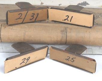 4 Metal Price Tag Holders, Vintage General Store Price Clips, Industrial Hardware