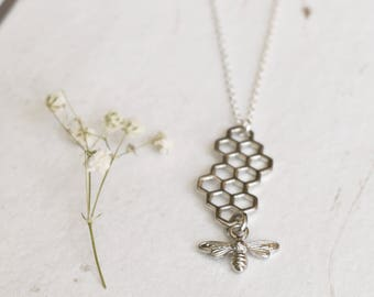 Silver Bee and Honeycomb Necklace, Honey Bee Necklace, Charm Necklace, Insect Jewellery, Drop Necklace, Teacher Gifts, Gift For Her