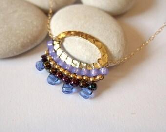 Gold Oval Beaded blue violet gold 14k gold filed necklace