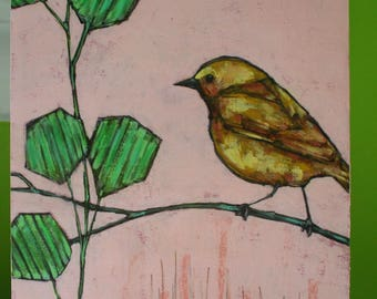 yellow bird on branch original a2n2koon mixed media textured wall art on reclaimed wood green leaves mint yellow pink bird art for wall