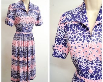 1940s Pink & blue floral print rayon day dress / 40s collared navy flower print summer dress - XS
