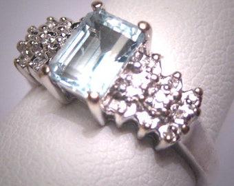 Vintage Aquamarine Diamond Wedding Ring Art Deco White Gold Engagement Band